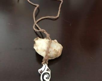 Natural white quartz necklace/handmade necklace with Bosnco quartz