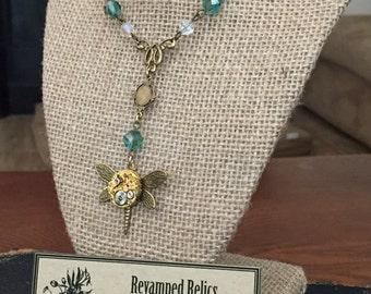 Golden Dragonfly Vintage Watch Movement Pendant Necklace Item#40