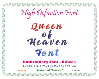 Embroidery font queen of heaven 8 size