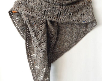 Knitted winter wool shawl, beige shawl, knitted winter wrap, olive shawl, khaki shawl, tweed shawl, knitted wool shawl, herbage shawl