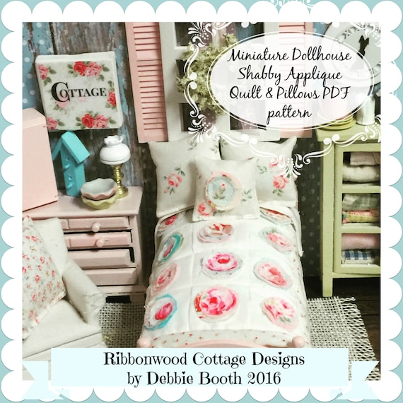 Sewing Pattern PDF Miniature Shabby Chic Applique Quilt Shams