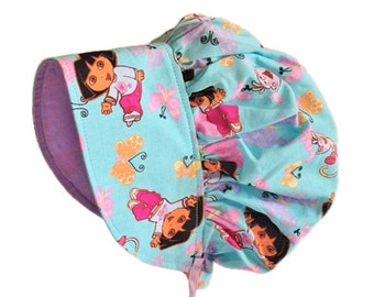Dora Hat, Sun Bonnet, Girl Sun Hat In Pink Or Blue, Baby Bonnet, Toddler Sun Hat, Summer Hat, Cotton Hat, Girls Birthday Gift