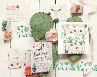 Desert Wedding Invitation, Cactus Wedding Invitation, Wedding Invites, Rustic Wedding Invitation Set, Watercolor, Printable Wedding, Modern