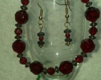 Black and Red Bracelet and Earring set