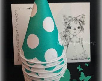 Paper Cone Minis, Scallop Teal w/White Polka Dot  (16-count) for Sno/Snow Cones, Popcorn, Snacks
