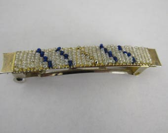 Vintage  Blue and White Beaded Hair Clip