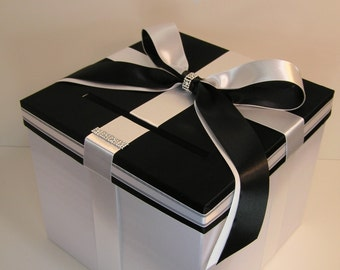 Wedding  Card Box Black and White Gift Card Box Money Box  Holder-Customize your color