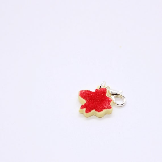 Maple Leaf Sugar Cookie Charm - Stitch Marker - Progress Keeper - Bracelet Charm - Ready to ship