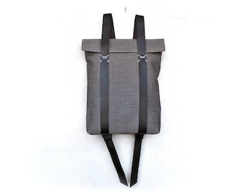 Grey backpack waterproof canvas, leather straps, minimalist rucksack personalized, custom rucksack 201