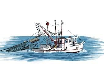 Shrimp Boat - Icon - Lantern Press Artwork (Art Print - Multiple Sizes Available)