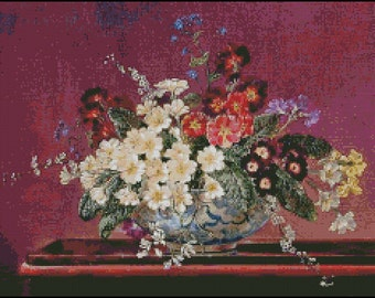 STILL LIFE With FLOWERS cross stitch pattern No.716