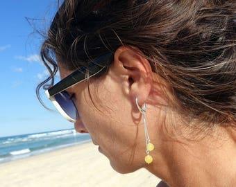 Yellow Baltic Amber Ball Earrings, Long Earrings, Amber Earrings With Silver Findings, Dangle Drop Earrings, Baltic Amber
