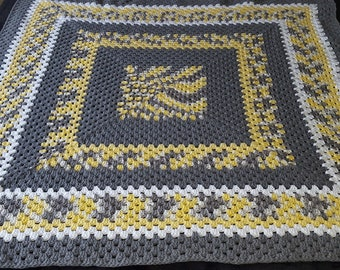 Grey White and Yellow Afghan