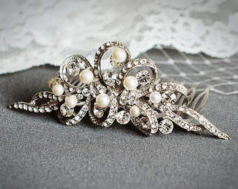 Crystal Bridal Wedding Hair Comb, Swarovski Crystal and Pearl Bridal Hair Comb, Rhinestone Bridal Tiara, Wedding Hair Accessories, AUDREY
