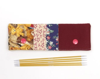 DPN case for 6 inch / 15cm sock needles, teddy bear patchwork needle keeper