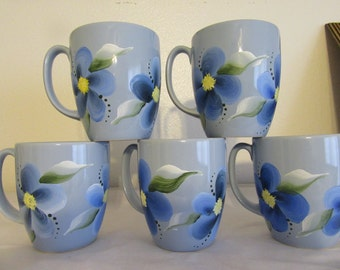 Mugs Coffee Tea  Hand Painted by ME Little Boy Blue Mugs Blue Floral Accents Unique One of A Kind Gift Idea Set of 4 BUY 4 Get 1 FREE