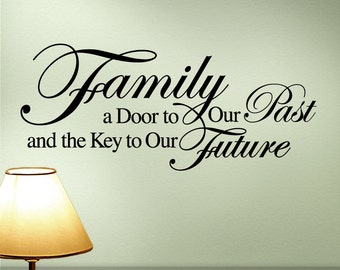 Family Wall Decal Quote, Inspirational Quote, Door to Our Past Key to Our Future, (00168d2v)