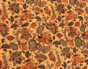 Cork Fabric - Garden Blooms Print Cork - EcoFriendly - Made in Portugal