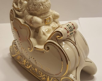 """Lenox china jewels dash away all collection santa in sleigh 7 1/2"""" x 7"""""""