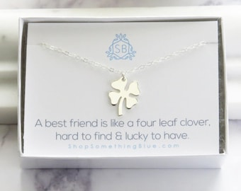 Best Friend Gift • Four Leaf Clover Necklace • Large Clover Charm • Lucky Charm • Clover Necklace • Shamrock Necklace • Friendship Jewelry