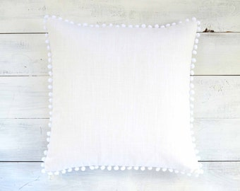 "White Pom Pom Pillow Cover -  20"" x 20"" - Decorative Pillow, Throw Pillow, Pom Pom Pillow Cover, White Pillow, Nursery Pillow, Linen Look"