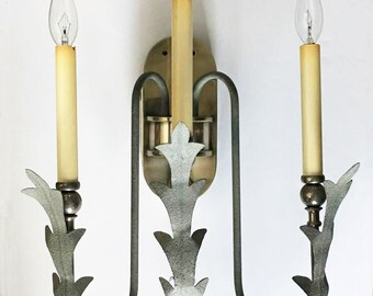 Art Deco Wall Sconce Electric 3 Candle Light / Accent Lighting / Wall Chandelier / Silver Acanthus Wall Light / Hall Light