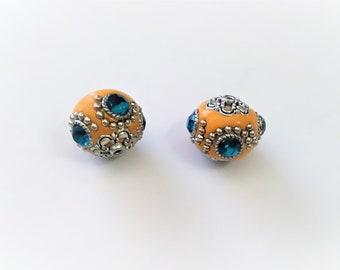 2 blue and orange Indonesian beads 20 mm hole 3 mm hole