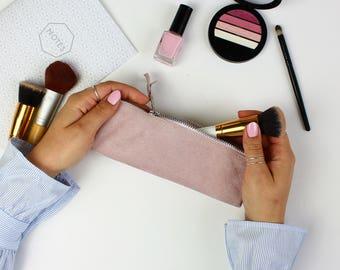 Pink Suede Pencil Case // Pen case, Pen holder, Personalised gift, Leather pen case, Leather pencil case, Leather pen pouch, Leather case