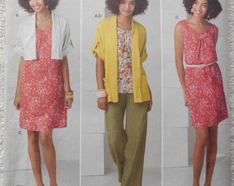 Simplicity 2262 Pullover Dress or Tunic , Pull on Pants , Cardigan in Two Lengths  Size M ,L, XL  , XXL