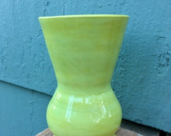 Small Flared Vase in Lime Green