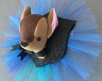 Deer Fawn Barrette, Kid child Glitter Faux Vegan Taxidermy Fascinator, soft sculpture, plush animal hair accessory, brooch, pin burlesque