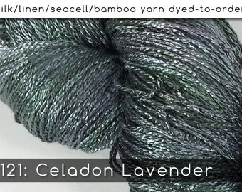 DtO 121: Celadon Lavender on Silk/Linen/Seacell/Bamboo Yarn Custom Dyed-to-Order