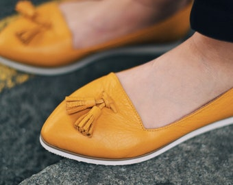 Yellow ballerina shoes, leather flat shoes, Summer Shoes, ballerinas, ballerinas shoes women shoes flat shoes wedding shoes bridal shoes