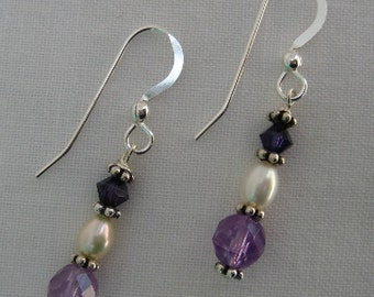 Amethyst and Pearl Earrings (E7)