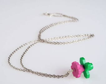 """Lego Flower necklace, pink - Collection """"Djouland"""""""