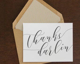 thanks darlin folded note cards, 8 ct.