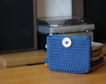 Small Ink Blue Crocheted Cosmetic Bag