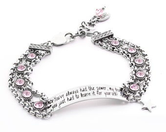 Engraved Bar Bracelet, ID Bracelet, Glinda the Good Witch, You've always had the power my dear, Glinda quotes