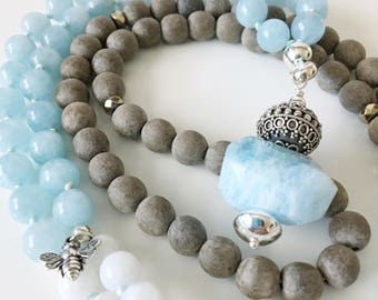 Mala Necklace . Aquamarine . Moonstone .  Natural Stone . Meditation Necklace .