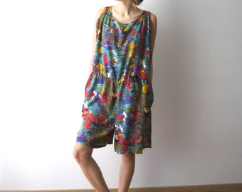 Vintage Romper Shorts Patterned Overalls Shorts Jungle Prints Shorts Medium/Large Size Jumpsuit Shorts Summer Festival Shorts 90s Jumpsuit