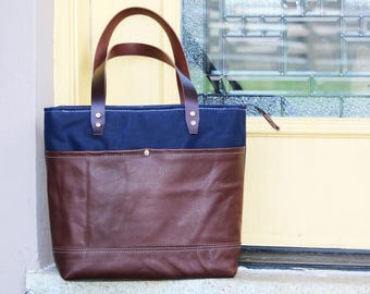 waxed canvas and leather tote bag - zippered tote made in USA - 010078