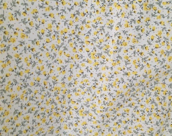 Yellow floral  fabric - Rose and Hubble  100% cotton poplin fabric UK