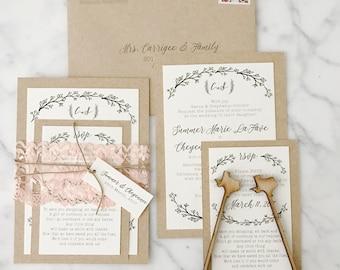 Lace romantic rustic wedding invitation