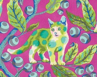 Tula Pink FABRIC - Tabby Road - Disco Kitty in Berry Bird