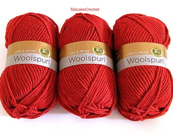 Woolspun Yarn Red Tomato Wool Acrylic Blend Lion Brand Craft Supplies