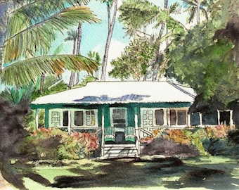 Kauai Green Cottage 8x10 art print from Kauai Hawaii plantation house waimea