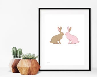 Bunnies Wall Art Print, Woodland Nursery Decor, Pink Rabbits Art Print, Nursery Baby Animal Print, Digital Download Printable Poster