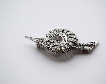 Vintage Brooch, Marcasite Vintage Brooch, Fossil Brooch