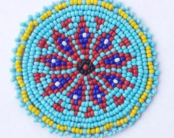 2 inch FLOWER BLUE Beaded Rosette