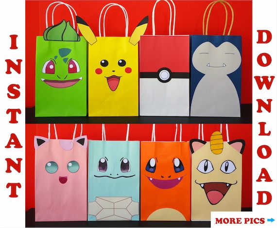 Pokemon Favor Bags Pokemon Party Bags Pokemon Birthday Party